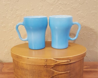 Vintage Fire King aqua blue coffee cups.  Blue Fire King mugs, vintage mugs, vintage coffee cups