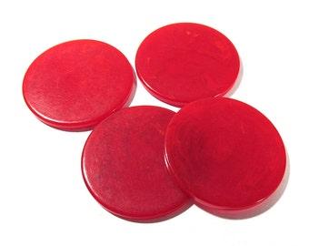 Bakelite Poker Chips Four (4) VINTAGE Marbled Cherry Red Bakelite Poker Chips Discs Red Vintage Jewelry Gaming Supplies (T139)