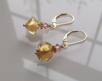 "Murano Glass Earrings ""Dangling Gold"".  Leverback. Murano Jewelry.  Italian Jewelry. Murano Glass Jewelry"