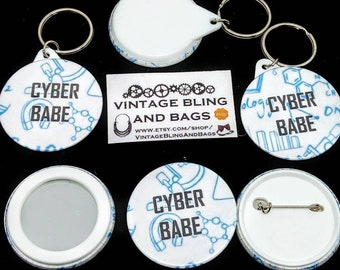 Cyber babe keyring, cyber babe keychain, science keyring, science keychain, geek chic keyring,  geek chic keychain, geek gift, sci-fi gift