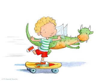 Dragon Race - Curly Blond Boy on Skateboard Racing Dragon - Art Print - Children
