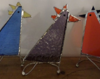 Stained glass hens, home decor, gift idea