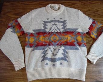 Vintage PENDLETON SWEATER Native Print Indian Design Wool High Grade Western Wear Portland Oregon Off White/Gray/Red/Gold PulloverSz L