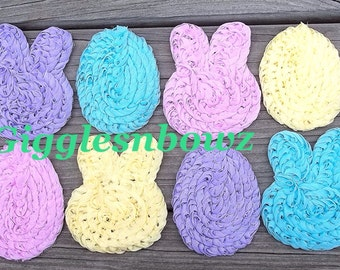 Set of 10 adorable Shabby Chic Chiffon EASTeR BuNNieS and EaSTeR EGGs appliques- 3x2.5 inch- DIY Headband Supplies- Easter Bunny