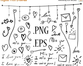 80% Until New Year - Valentine's clipart: hand drawn hearts tribal vector valentines day arrows doodle clip art 40 .PNG .EPS print and cut,