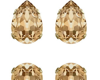 Swarovski Crystal Golden Shadow Champagne Classic Ivy Stud Earrings Gold Plated Womens Girls 18x13mm Drop