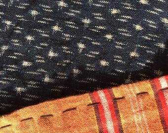 Japanese Indigo KASURI and Colorful SHIMA Striped Fabric Piece