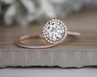 Forever Brilliant Moissanite Round 9mm Bridal Ring Set, Moissanite Engagement Ring, Diamond Halo Ring, Wedding Ring set, Diamond Band