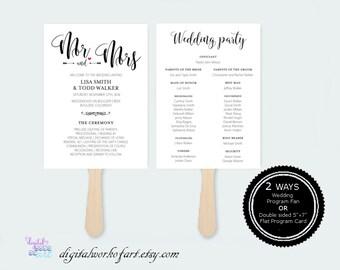 Wedding Program Template Printable DIY Rustic, Wedding Program Printable, Ceremony Printable Template, Editable PDF Template,