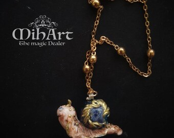 Fantasy snail art blu apatite stone necklace handmade art