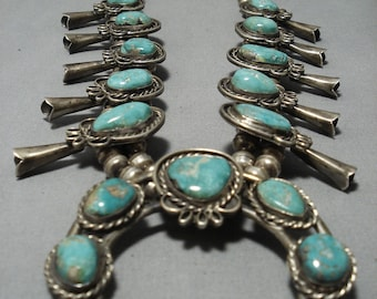 Huge!! Vintage Native American Navajo Green Turquoise Sterling Silver Squash Blossom Necklace