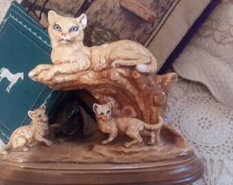 Antique Chalk Door Stop Cat & Kittens..No Damage..