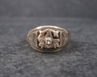 Vintage 10K Freemason Masonic Diamond Ring Size 10.5