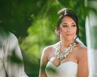 Chunky Bridal Pearl Vintage Wedding Bib Statement Necklace Ribbon & Pearl Gold Vintage Flower Brooch - Pearls, Pearls, Pearls Necklace