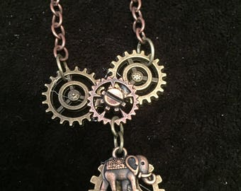 Elephant Gear Steampunk Necklace