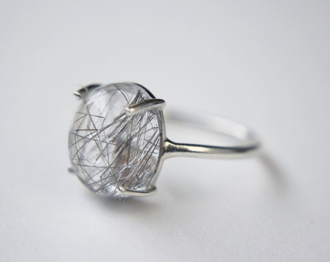 Tourmalinated Quartz Cabochon Ring in sterling silver - sterling silver quartz ring - tourmalinated quartz ring - rutilated quartz ring