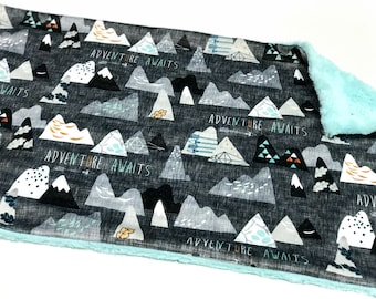 Charcoal Grey Adventure Awaits Baby Boy Blanket Lovey