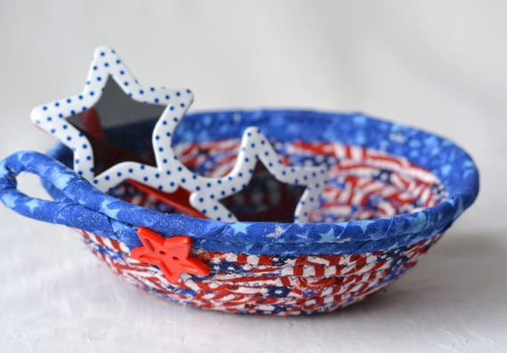 Patriotic Home Decor, Cute Desk Accessory, Handmade Red White and Blue Party Bowl, Toothpick Bowl, Veteran Gift Basket, Memorial Day Decor