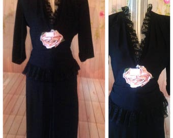 Vintage 1940's Black Crepe Dress with Fabric Flower
