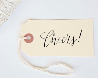 Cheers Stamp Calligraphy Handwritten Stamp for Wedding, Shower, Party or Event  1 x 2 inch