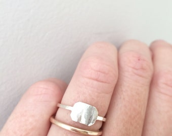 Rectangle ring / signet ring / silver stacking ring
