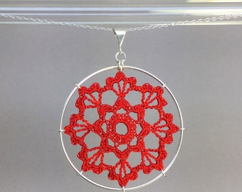 Scallops doily necklace, red hand-dyed silk thread, sterling silver