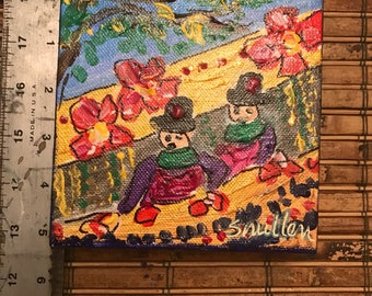Mardi Gras Painting Parade Float Krewe Costume with Oak Tree artist signed original arcylic 5x5 gallery wrapped canvas New Orleans