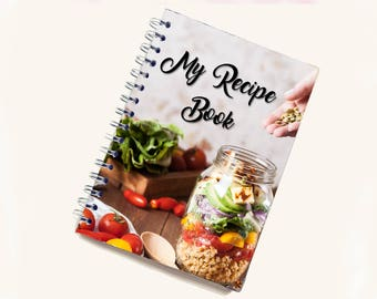 Blank Recipe Book | Veggie Jar Pattern | Personal Recipe Book | Add your own recipes | Home Recipes | Recipe Journal | B0005