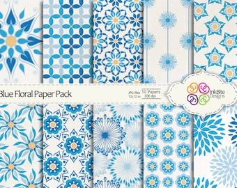 Floral Digital Paper - Blue Digital Scrapbooking Paper Pack - 10 papers - 12x12 in - 300dpi, Commercial Use, Instant Download