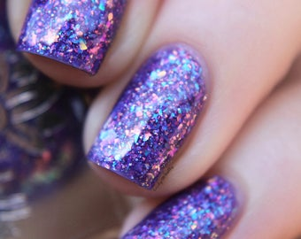 "Nail polish - ""Sweet Sacrifice"" Purple base with iridescent flakes"