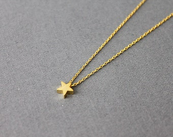 Tiny and Simple Gold Star Necklace . Dainty Star Charm Necklace . Bridesmaid Necklace Bridesmaid Gift Birthday Gift