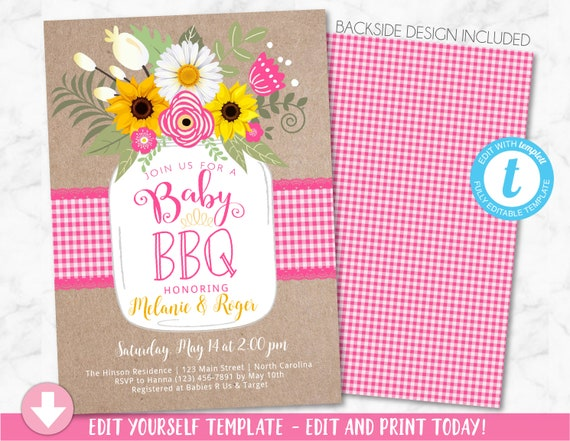 Pink Baby BBQ Invitation, Baby Shower Invite, Baby Q Barbeque Summer Invition Printable, Mason Jar Floral