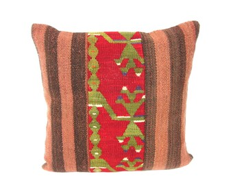 Kilim Pillow Cover, Kilim Pillow, Bohemian Pillow, Kilim Cushions, Turkish Kilim, Decorative Pillows, Wool Pillow, KP3 (tp172)