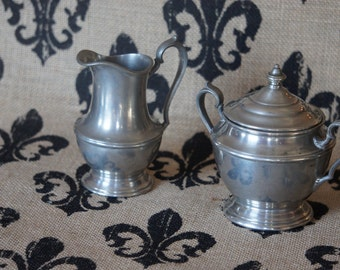 Pewter Cream and Sugar Collectable