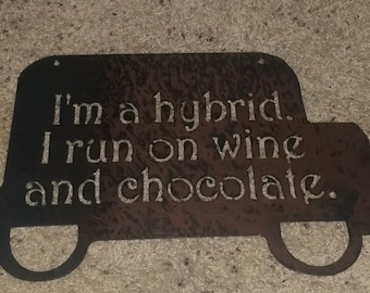 Hybrid-metal art, wine, chocolate, vineyard sign, wall decor, bar art, custom order