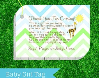 Baby Shower Favor Tag - Jungle, Giraffe & Sunshine - Prayer Candle