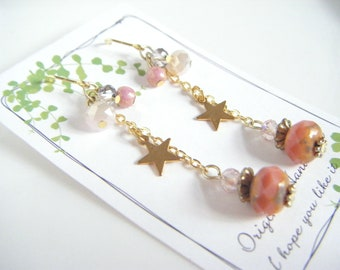 Pastel pink dangling earrings, salmon pink dainty earrings, cute dangling earrings with star charm, gift for her, earrings under 10.