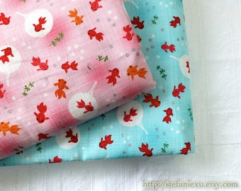 Lovely Summer Swimming Fish Goldfish Cherry Blossom Sakura Circle Ocean-Japanese Cotton Fabric (1/2 Yard)