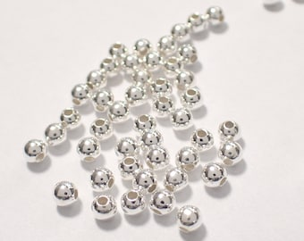 Pack of 1000, 925 sterling silver seamless 3mm round bead / spacer, 1.2mm hole [our ref: pa293]