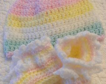 Sherbet Newborn Layette crochet cap and booties