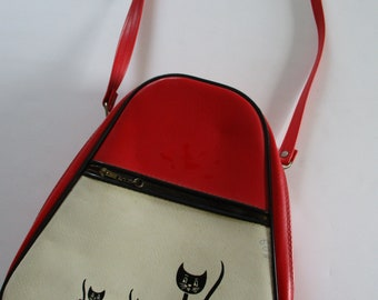 Vintage Retro Mid Century Children Carry-On Luggage-Purse-Red Leather-Kitten-Black Cats-Made in Japan-1960's