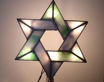 Arbre Topper avec Clips clair, arbre Interfaith éclairée Topper, vitrail juif étoile, Six Point pour les familles recomposées #8