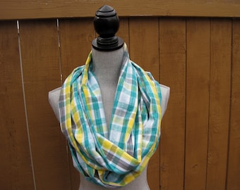 Fabric scarf, Infinity scarf, eternity scarf, tube scarf, loop scarf in plaid cotton/polyester fabric