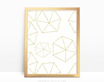 SALE -  Gold Triangular Shapes, Abstract Shape Print, Faux Gold Foil Print, Glitter Gold Texture, Baby Nursery, Line Shape, Modern