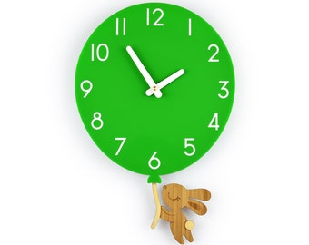 Bunny & Green Balloon - Green Balloon Wall Clock - Children's Room Decor - Nursery Decor - Baby Shower Gift - Simple Wall Clock