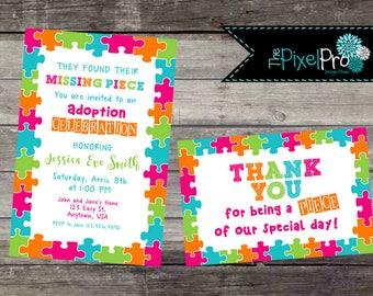Adoption celebration invitation party missing piece with puzzle pieces, adoption celebration party invitation, adoption, THEPIXELPRO