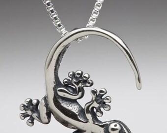 Gecko Necklace Gecko Jewelry Gecko Charm Lizard Necklace Lizard Jewelry Lizard Charm Silver Gecko Hawaii Jewelry Salamander Jewelry Newt