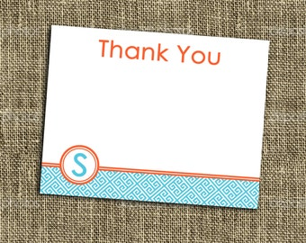 """PRINTABLE THANK YOU note Turquoise and Tangerine Collection - 5.5""""x4.25"""" flat thank you card customized with name - Memorable Moments Studio"""