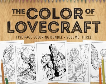 Adult Coloring Bundle - The Color of Lovecraft, Vol:3 - Five coloring pages inspired by the Cthulhu Mythos - download and print (PDF)