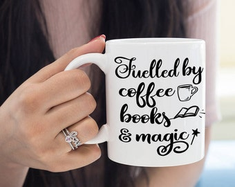 Fuelled by coffee, books and magic mug, Gifts For Bookworms, Literary Coffee Mug, Gift For Coffee Lovers, UK